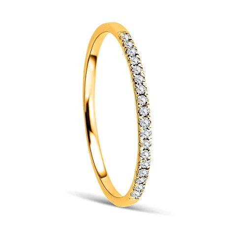 Orovi Anello Donna Eternity/Veretta in Oro Giallo con Diamanti Taglio Brillante Ct 0.087 Oro 9 Kt / 375