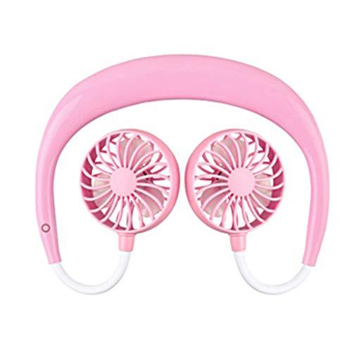 BJJH draagbare USB oplaadbare ventilator nekband luie nek hangende stijl dubbele koeling kleine ventilator