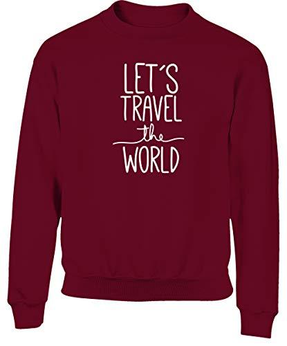 Hippowarehouse Let's Travel The World Kids Children's Unisex Jumper Sweatshirt Pullover Maroon