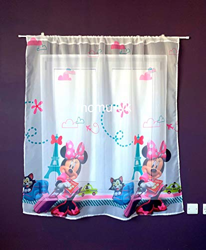 Polontex Cortinas de Minnie Mouse de 300 cm de ancho x 136 cm de largo, para habitación infantil de Disney
