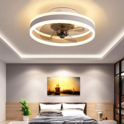 MJJLT Ventiladores De Techo LED con Luces, Control Remoto Reversible, 6 Velocidades, Luz De Techo Silenciosa, Ventilador De Techo, Ventilador De 24W Regulable, Luz Colgante para Sala De Estar Gray