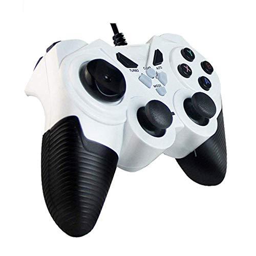 ヘッドフォン ビルトイン非対称モーターサポートコンピュータ/アンドロイドTV/水蒸気/ PS3 /プロジェクター/シミュレータゲーム/Androidのボックス搭載有線ゲームパッドのUSB (Color : White, Size : Upgraded)