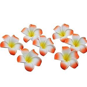 Ewanda store 100 Pcs Diameter 1.6 Inch Artificial Plumeria Rubra Hawaiian Foam Frangipani Flower Petals for Weddings Party Decoration(Orange)