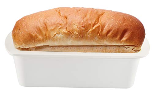 Home-X Microwave Loaf Pan, Non-Stick Baking Mold, Perfect for Cake and Bread, BPA Free, Dishwasher Safe, 2Piece Set, 10 ½' L x 5 ¾' W x 3' H, White