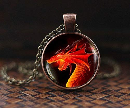 Red Dragon Pendant, Red Dragon Necklace, Dragon Jewelry,Necklace, Men's Necklace