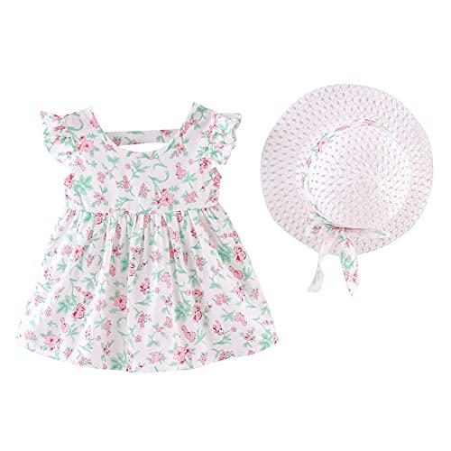 Vestido Bebé Niña Verano sin Mangas Elegante - Falda Corta de Niña + Sombrero de Sol con Lazo Conjunto de 2 Piezas - Vestido Bebés Playa para Cumpleaños,Vacaciones