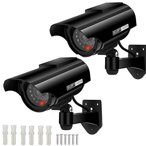 AlfaView Telecamera Finta Telecamera di Sorveglianza Fittizia a Proiettile Alimentata a Energia Solare Telecamera Dome CCTV di Sicurezza con LED Lampeggiante per La Casa D'affari