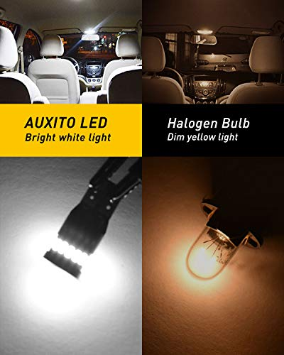AUXITO 194 LED Light Bulb 6000K White 168 2825 W5W T10 Wedge 24-SMD 3014 Chipsets LED Replacement Bulbs Error Free for Car Dome Map Door Courtesy License Plate Lights, Pack of 10