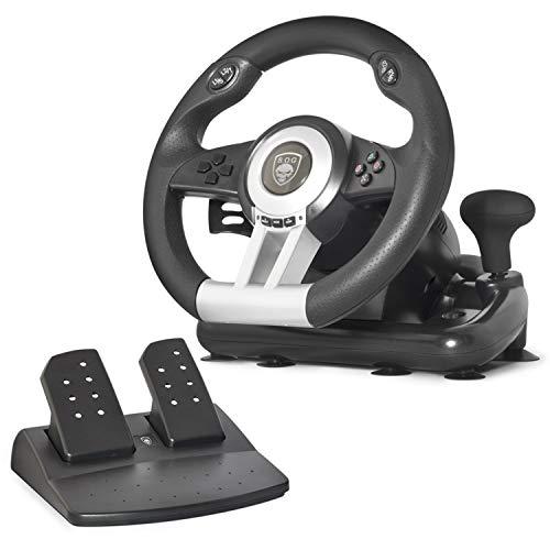 SOG Spirit of Gamer RWP - Volante da Gioco per Computer, Portatile, PS2, PS3, Colore Nero