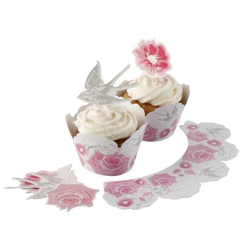 Toppers gâteau Rose et Hirondelle & Wraps - Enchanted Rose
