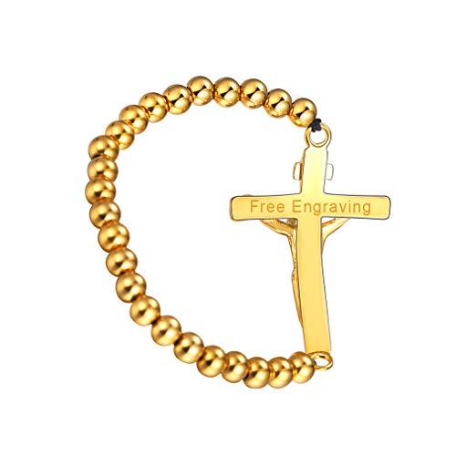 FaithHeart Pulsera Milagrosa de Acero Inoxidable para Hombre y Mujer Joyería Religiosa con Medalla & Crucifijo