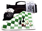 """Paramount Dealz 17""""x 17"""" Professional Vinyl Chess Set - with 2 Extra Queens/Chess"""
