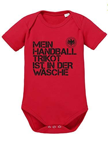 clothinx Baby-Body Bio EM 2020 Mein Handball Trikot ist in der Wäsche Rot/Schwarz Größe 68