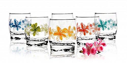 Sables & Reflets - Juego de 6vasos para agua, refresco o zumo, 250 ml, colección con diseño de flores