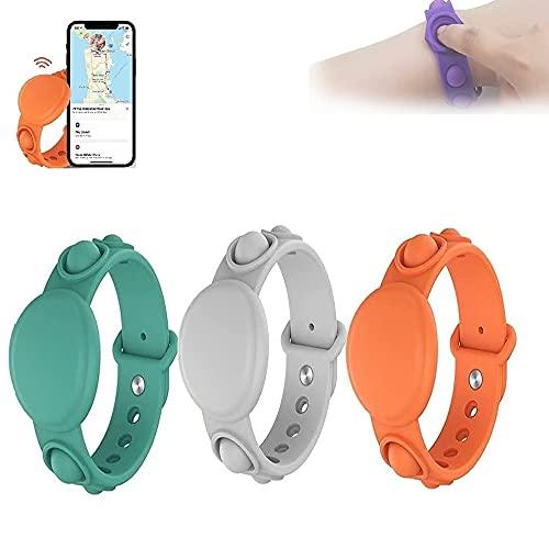 3 Stück für Apple Airtag Silikonarmband Schutzhülle, leichtes weiches Uhrenarmband, Anti-Stress GPS Kinder Anti-Verlorenes Armband Locator (#2)