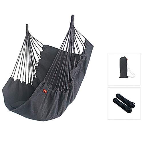 Balançoires YXX Hamac Chaise avec Sac de Rangement, Suspendue Robuste capacité de 120 kg pour intérieur, extérieur, Chambre à Coucher, Patio, Jardin, Jardin (Color : Gray)