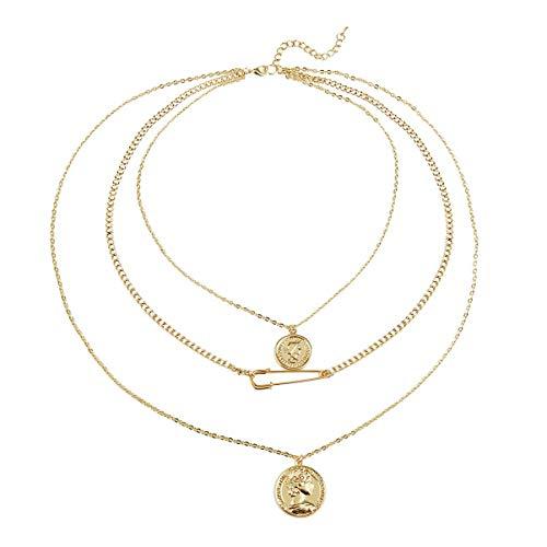Happyyami Münzanhänger Halskette Mehrschichtige Nadel Anhänger Halskette Schlüsselbein Halskette Halsschmuck für Frauen Golden