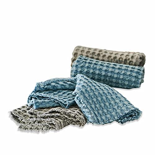LOBERON Handdoek set van 4 Dunne, katoen, H/B ca. 30/50 cm, grijs/blauw