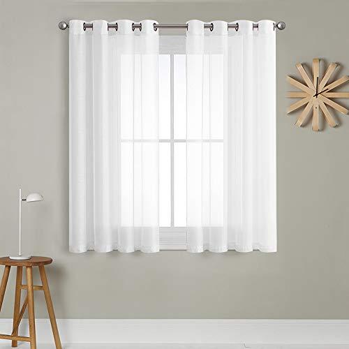 MRTREES Voile Gardinen Vorhang halbtransparent kurz mit Ösen in Leinenoptik Stores Gardinen Schals für Wohnzimmer Schlafzimmer Kinderzimmer Weiß 145×140cm (H×B) 2er Set