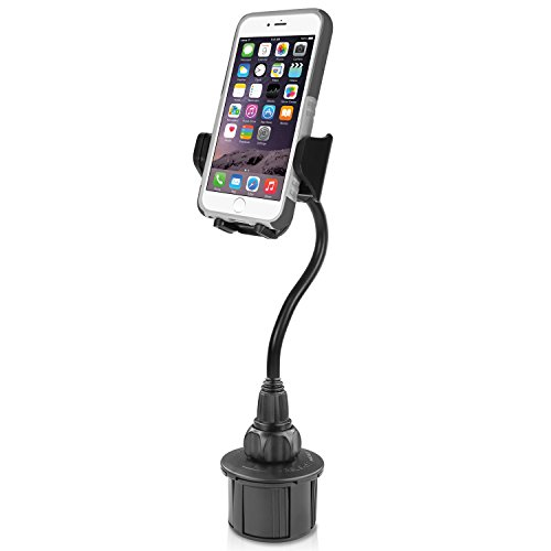 "Macally Car Cup Holder Phone Mount - 8"" Long Flexible Gooseneck with 360° Adjustable Holder - Securely Fits Phones with/without Case up to 4.1"" Wide - Easy to Use Cup Phone Holder for Car SUV or Truck"