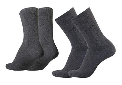 bugatti Herren Socken 4er Pack uni basic Farben rot, indigo melange, Size:39-42, Farben:anthracite