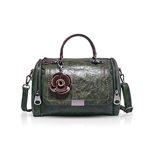 NICOLE & DORIS Damen handtaschen Leder Damen Schultertasche Henkeltasche Umhängetaschen für Damen Top Griff Taschen Dunkelgrün