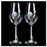 Bicchieri da vino Bicchieri in cristallo smaltato Bicchieri d'acqua soffiata a mano 100% senza piombo Ottimo per degustazione di vini Anniversario di matrimonio Regalo di Natale 9,5 'H 16 once Set di