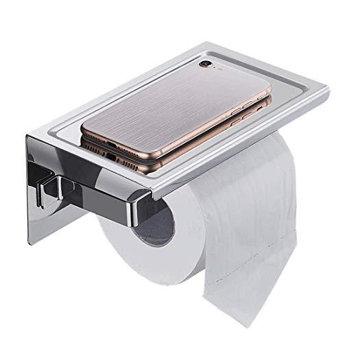 YLLAND Portarrollos de papel higiénico con estante autoadhesivo de acero inoxidable para baño, cocina y LNNDE