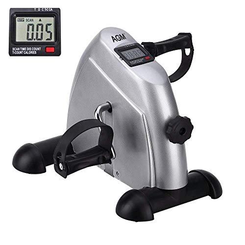 Mini bicicleta estática pedales para entrenamiento de brazos y piernas y hacer ejercicio en casa con pantalla LCD (Plata)