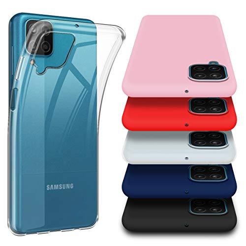 6 Pièces Coque pour Samsung A12, Un Transparent avec Cinq (Rouge,Bleu,Rose,Noir,Blanc) Souple Étui pour Samsung Galaxy A12 (6,5 Pouces)