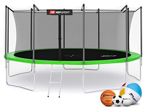Hop-Sport Gartentrampolin Outdoor Trampolin 244, 305, 366, 430, 490 cm Komplettset inkl. Innennetz Leiter Wetterplane Bodenhaken 490cm