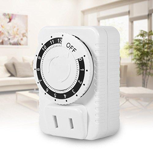 Jershal Enchufe del Temporizador - Interruptor de Temporizador de Cuenta Regresiva Digital de segmento de 12 Horas Utilizado para controlar electrodomésticos