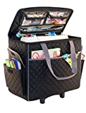 Everything Mary Sewing Machine Rolling Carrying Case, Black Quilted - Collapsible Trolley Bag with Wheels for Brother, Bernina, Singer, Most Machines - Wheeled Tote Carrier for Notions & Crafts