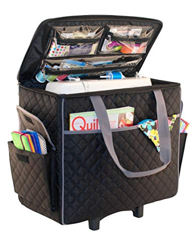 Everything Mary Sewing Machine Rolling Carrying Case, Black Quilted - Trolley Bag with Wheels for Brother, Bernina, Singer & Most Machines - Wheeled Tote Carrier for Notions & Crafts