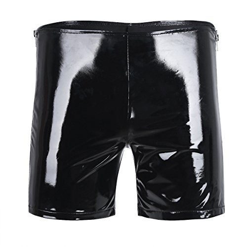 dPois Herren Boxershorts Lack-Optik Unterwäsche Slip Unterhose Männer Kurze Hose Pants Briefs Trunks Badehose Laufhose Fitness Hose Clubwear Schwarz M L XL Schwarz M