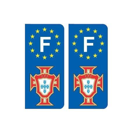 F FPF dorado Portugal Fútbol autoadhesivo placa, color Angles: arrondis
