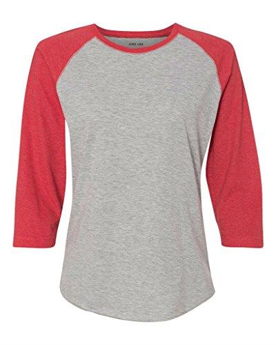 Joe's USA(tm - Ladies' Vintage Jersey 3/4 Sleeve Baseball T-Shirt-Red-S