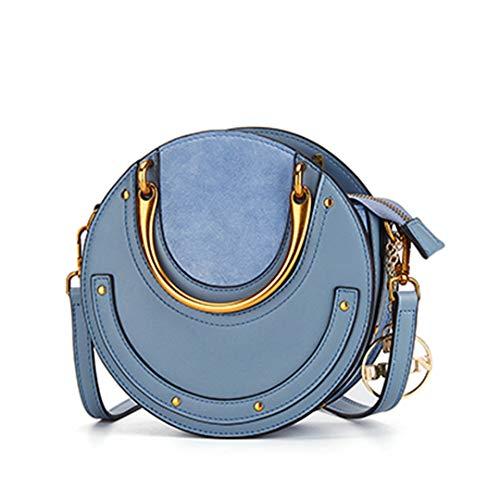 Round Metal Handbag Genuine Leather Messenger Bags Rivet Crossbody Bag, Blue (Blue) - DMB190609