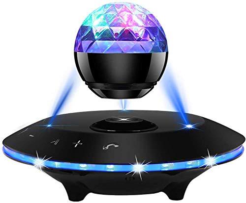 ZHOUMEI Mode Magnetische ophanging luidspreker 3D Stereo Bluetooth Audio Hi-Fi Surround compatibel en Android iOS Creative nachtkastje Light Decoration Black
