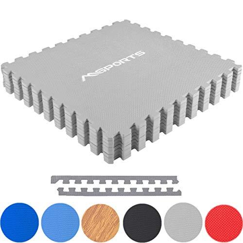MSPORTS Bodenschutzmatten Set Premium - 8 Schutzmatten 3,175m² | Bodenschutz 60x60 cm | Stärke: 1,2 cm | Puzzlematten Gymnastikmatte (Grau)