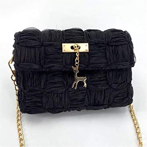 ZB TOP Hand-Woven Woven Yarn Fashion Bag, DIY Chain Bag Ribbon Yarn Mesh Homemade Shoulder Messenger Bag - DIY Your Own Shoulder Bag Black