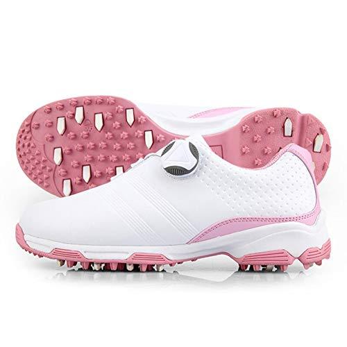 Spikeless Golfschuhe für Damen Wasserdichte, atmungsaktive Sportschuhe Turnschuhe mit rutschfestem, leichtem Schuhwerk mit automatischem Schnürsystem und Supergriff für stabileres Schlagen,Rosa,37