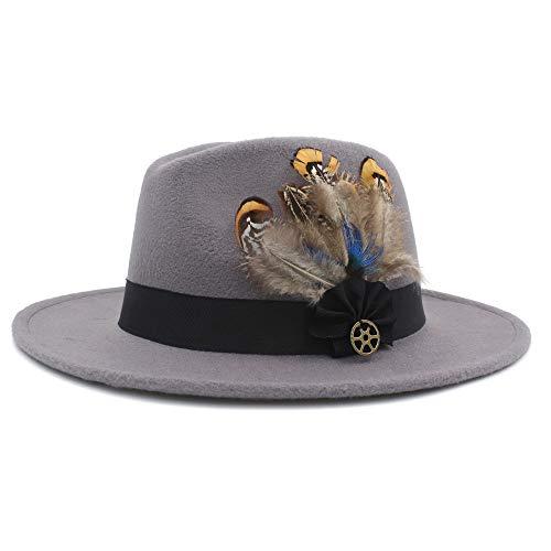 XY-hat Calentar Hombres Mujeres Sombrero con Pluma Sombrero de ala Ancha Sombrero Pop Panamá Sombrero de Iglesia de Viaje al Aire Libre Moda (Color : Light Gray, Size : 56-58)