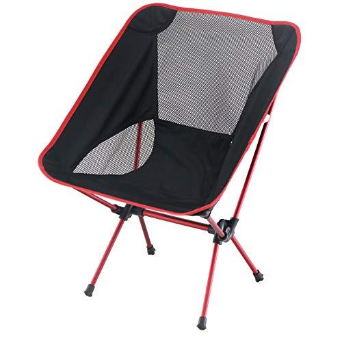 Sutekus アウトドア用チェア 椅子 アルミ合金&オックスフォード製 メッシュネット有 キャンプ 釣り 登山 ピクニック 超軽量 収納袋付き コンパクト (レッド)