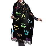 Tengyuntong Bufanda de mantón Mujer Chales para, Monsters Halloween Pattern Casual Chal Bufanda Bufanda De Invierno De Cachemira Para Mujeres Hombres