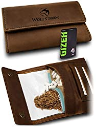 Tabaktasche 'Taruk' – Premium Tabak-Beutel Leder, Set inkl. Gizeh Papers – Dreher-Tasche mit Magnetverschluss, Filterfach und Double Blättchen-Halter – Swedish Brown