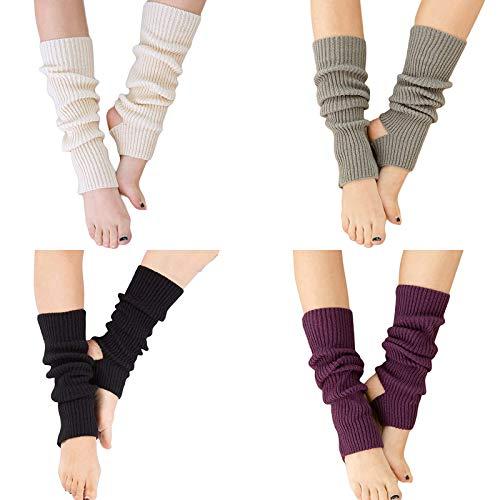 YUANQIAN Calentadores de piernas de punto para mujer, extra suaves sobre la rodilla, sin pies, para yoga, ballet, danza (negro, blanco, gris, morado, 4 pares)