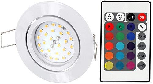 LED RGB Slim Spot inbouwspots 230V draaibaar - met afstandsbediening - kleurverandering - 3-traps dimbaar - geheugenfunctie - wit