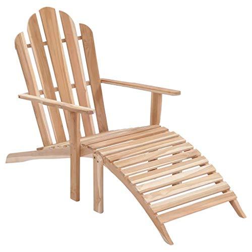 Festnight- Adirondack Stuhl mit Fußstütze | Armlehnen Deckchair | Liegestuhl Sonnenstuhl Holzstuhl | Gartenstuhl Teakholz 151,5 x 66 x 94,5 cm