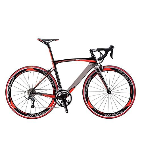 HUAQINEI 700C 3000 Bicicleta de Carretera de Fibra de Carbono Bicicleta de 18 velocidades Ultraligera Carreras de Carretera con Viento Roto, Rojo
